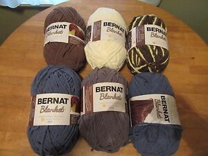 6 Bernat Blanket Yarn, 10.5 Ounce Assorted Colors Makes 1 Afghan NEW