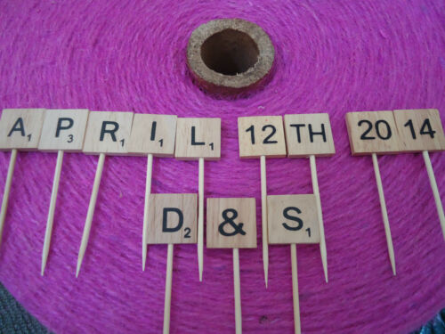 1 Scrabble Wooden Birthday Letter Date Cake Topper Anniversary Personalised DIY