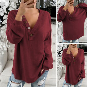 Women-Long-Sleeve-Tops-Buttons-Shirt-Casual-Plain-Ladies-Blouse-Tee-Plus-Size