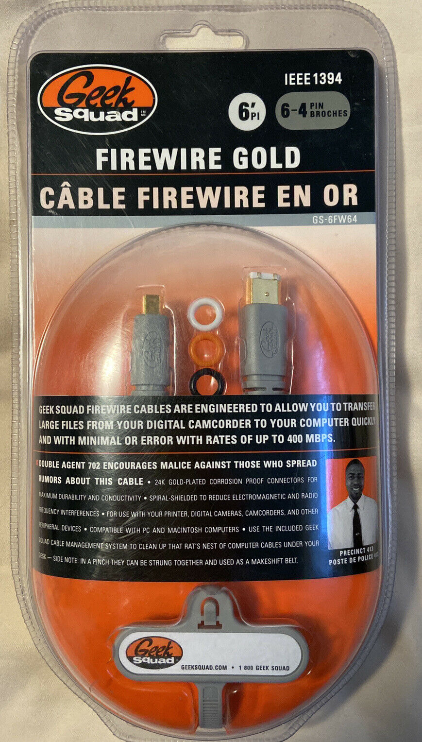NEW Geek Squad Firewire Gold Cable IEEE 1394 6 Pin to 4 Pin - 6 ft. GS-6FW64