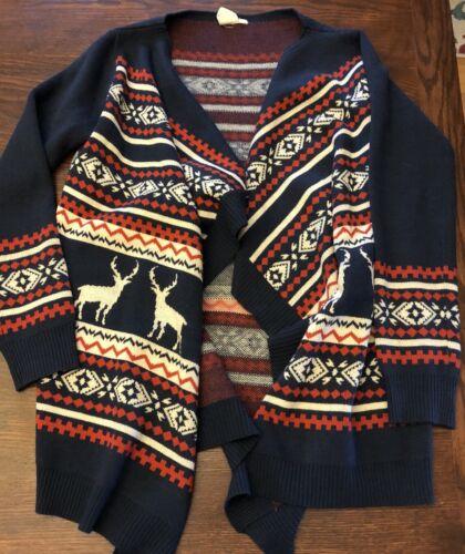 Womens Pink Owl Deer Print Wrap Cardigan Sweater S