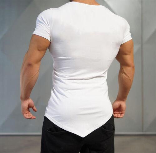 Men/'s New Irregular Superman Printed Short Sleeves T Shirts Sport Gym Clothes