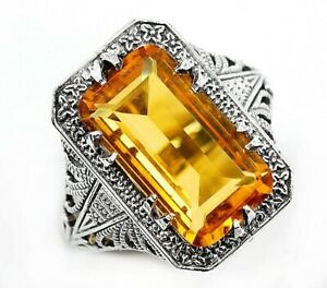 10CT-Citrine-925-Solid-Sterling-Silver-Victorian-Style-Ring-Jewelry-Sz-9-PR39