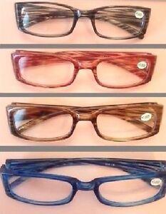 4x Lesebrillen Lesehilfe Brille in Braun Blau Rot & Grau in verschiedene DPT NEU