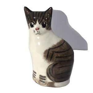 """Vintage N S Gustin Ceramic """"Striped Cat"""" Hand Painted- 9""""-USA Made"""