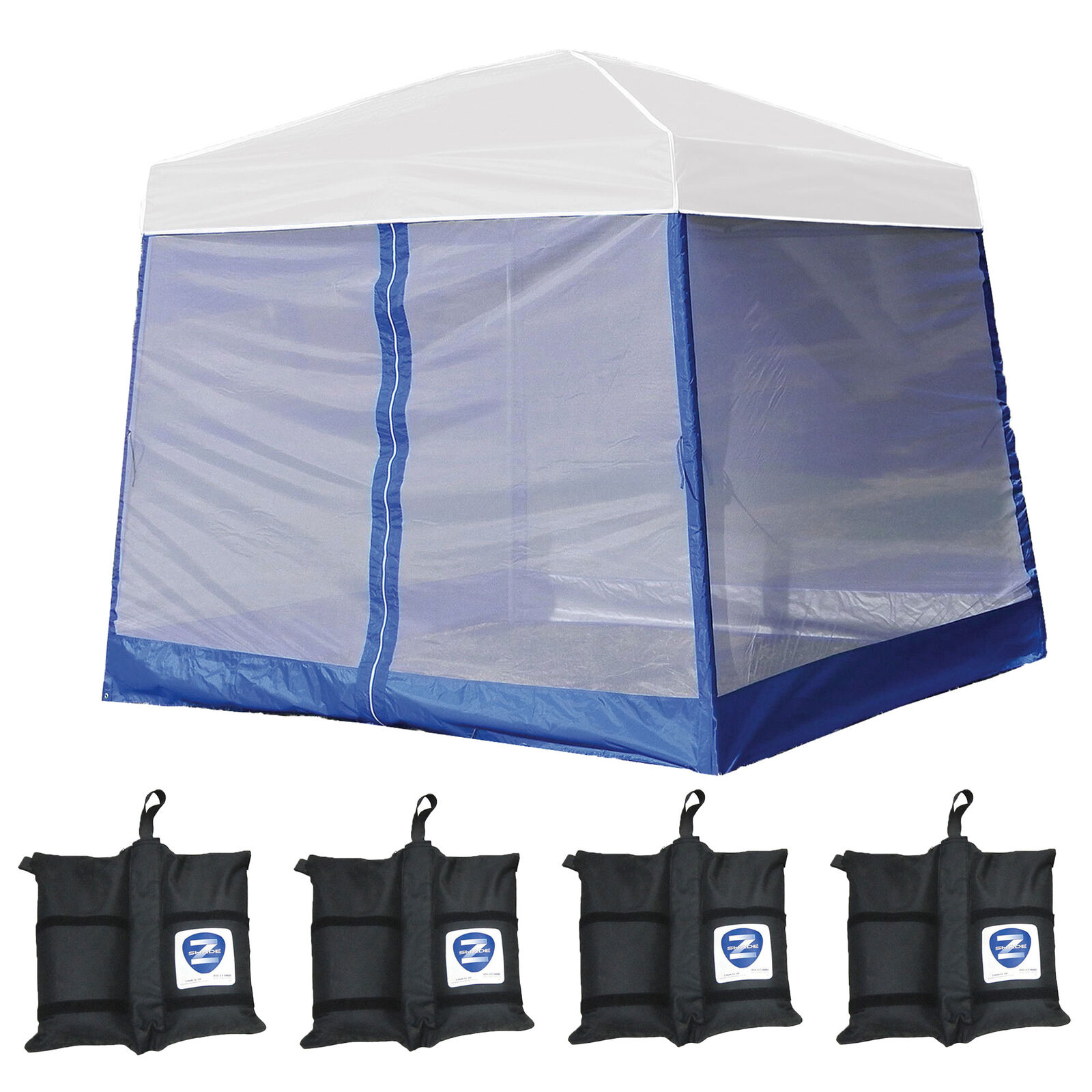Z-Shade 10' x 10' Angled Leg Instant  White Canopy Shelter with Screen & Weights  best price