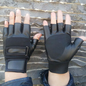 Men-039-s-PU-Leather-Driving-Motorcycle-Biker-Fingerless-Gloves-Outdoor-Sports-AU