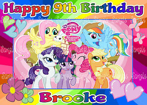 Image Is Loading Edible My Little Pony Rainbow Girls Personalised A4