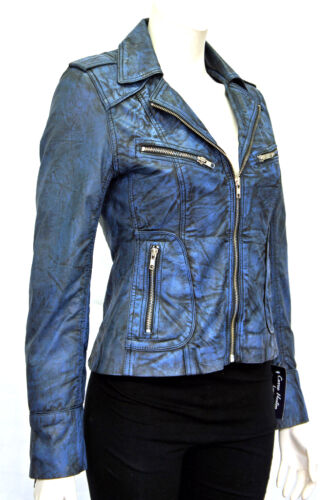 Candice Blue Ladies Women Vintage Biker Style Real Washed Sheep Leather Jacket