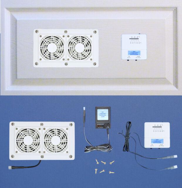 Cabinet/Desk AV Cooling fans with adjustable thermostat & multispeed/white model