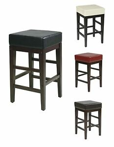Awesome Details About Faux Leather Seat 25H Square Bar Wood Counter Stool Backless Chair Es25Vs3 Uwap Interior Chair Design Uwaporg