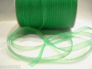 10m x 7mm Organza Ribbon : 31 Green