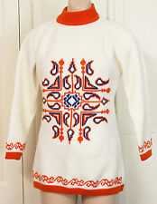 Vintage Jumper Sweater 70s Acrylic Knit Retro Novelty Ugly Clothing Winter 10 12