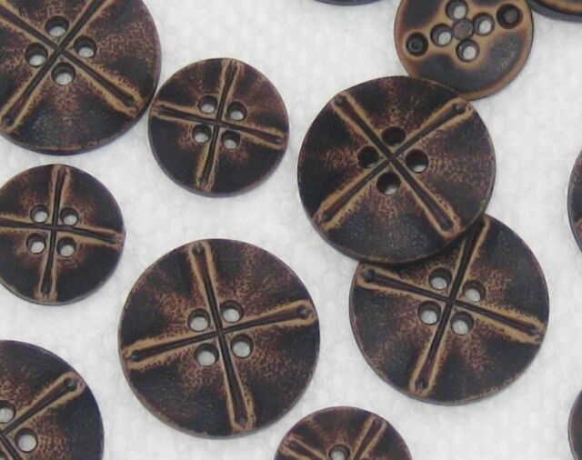 Set 14 Fancy Faux Leather Dark Brown Vintage new buttons SIZES