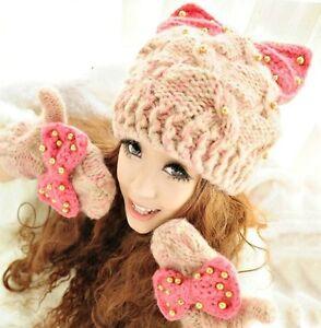 "New - Winter Fashion - Warm Woman's Cute Knit PINK ""BOW & PEARLS"" Hat / Cap"