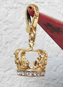 JUICY COUTURE 3D Gold Plated Pave Crystal Crown with \