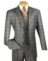 Men's Gray Glen Plaid 3 Piece 3 Button Classic-fit Suit W/ Matching Vest