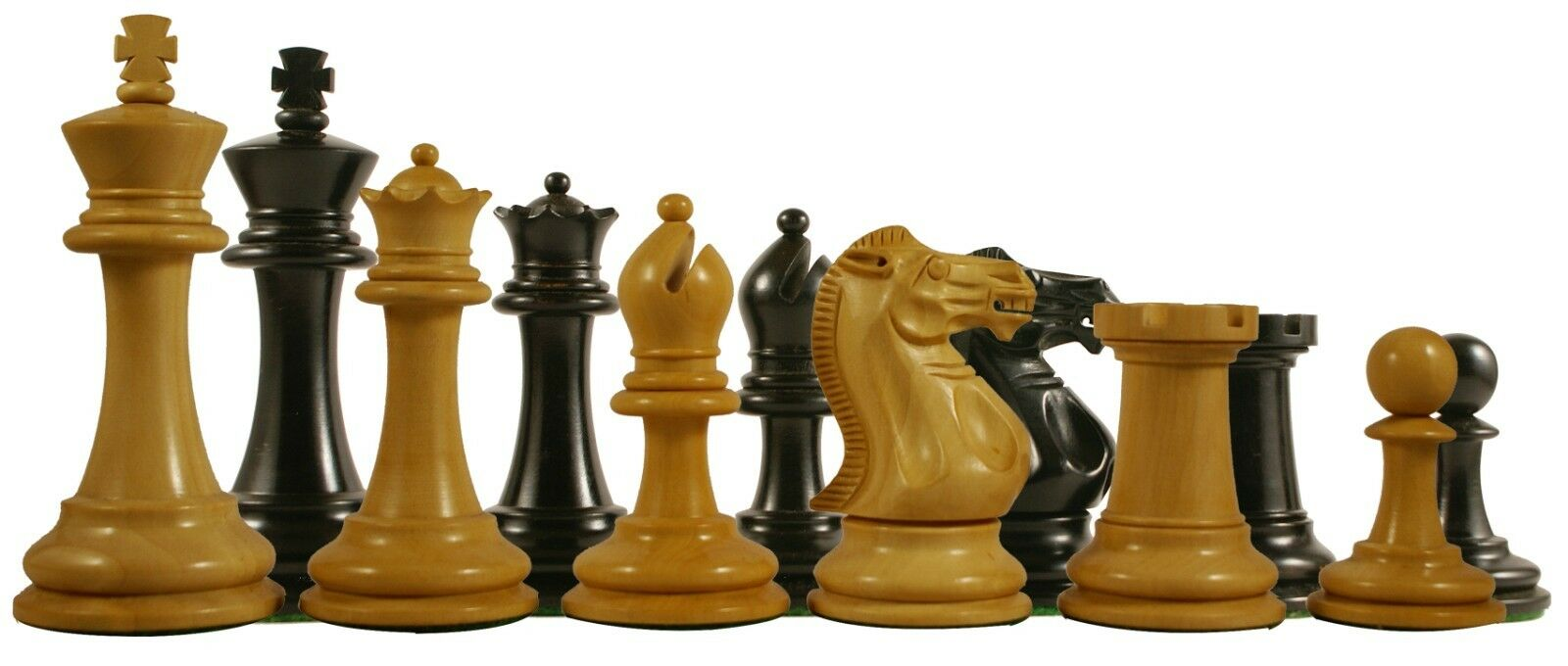 Paul Morphy Series Premium Staunton 3.5  Chess Pieces in Ebonised & Box Wood