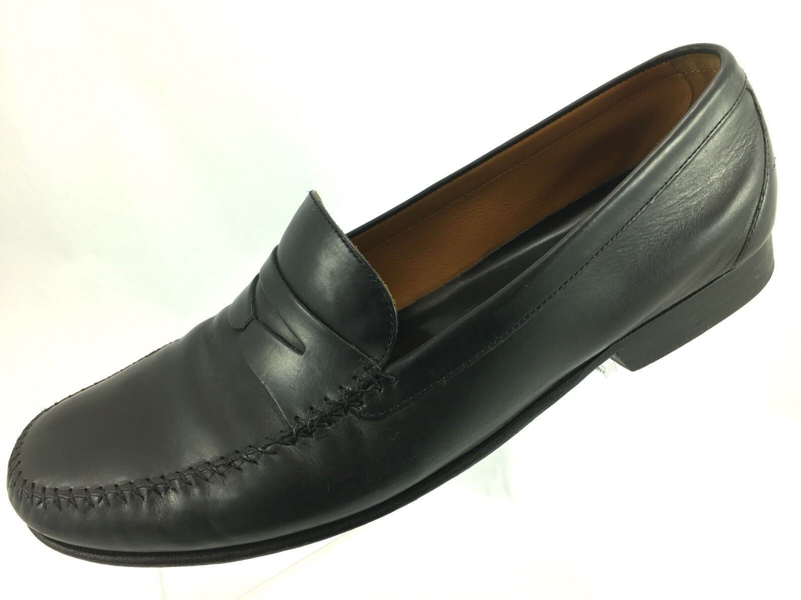 SH20 Cole Haan Penny Resort 10.5D Black Leather Penny Haan Loafer Shoes 2c3961