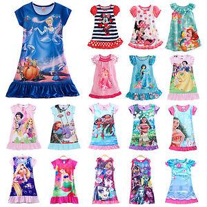 filles-enfant-Princesse-Disney-Moana-ELSA-Ete-Robe-de-nuit-pyjama-vetements