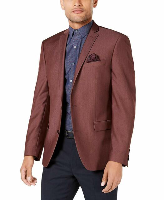 Bar III Mens Sport Coat Red Size 36 Regular Slim Fit Active Stretch $295 #300