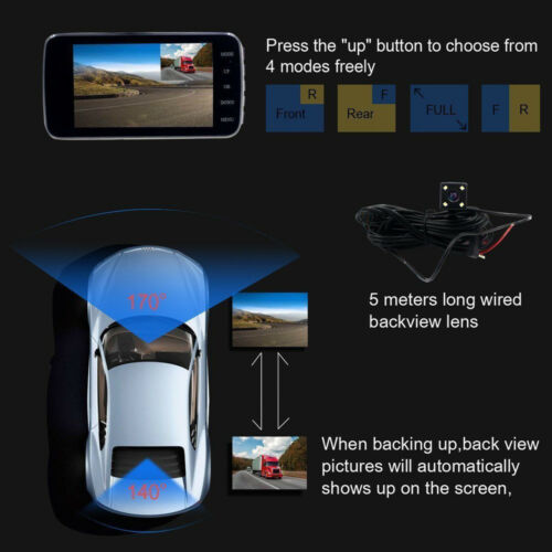 "4/"" 1080P HD 170° Dual Lens Car DVR Dash Cam Front and Rear Camera Video Recorder"