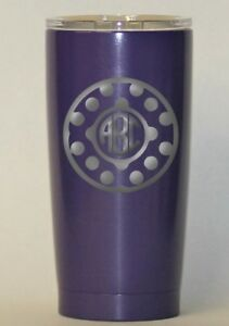 10cb3f2f255 Details about Personalized Powder Coated Tumbler with Laser Engraved Circle  Polka Dot Monogram