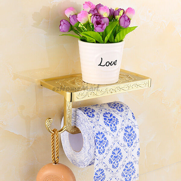 Gold Polished Brass Bathroom Paper Roll Holder Toilet Tissue Shelf Phone Rack