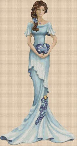 Cross stitch chart Elegante Lady EL156 MM Lunghezza Intera Flowerpower 37-uk
