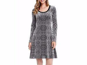 Karen-Kane-New-Women-039-s-Grey-amp-Black-Velvet-A-Line-Long-Sleeve-Dress-Size-S-M-L