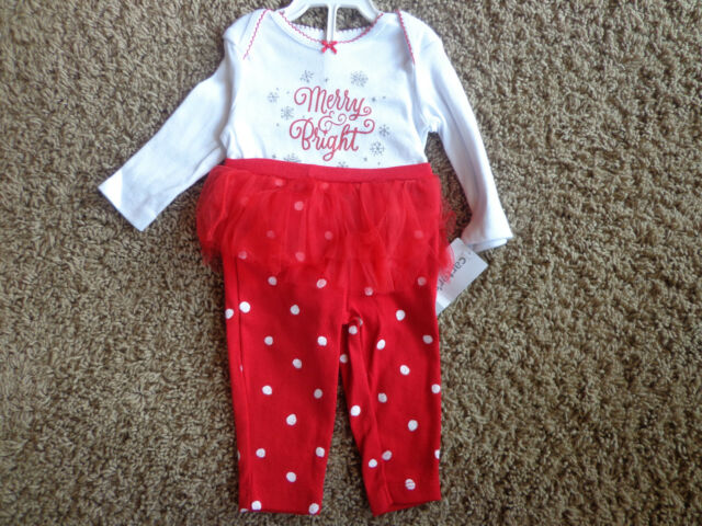 28da264fd CARTER'S girl's NWT sz 3M red/white 2-piece LS bodysuit Merry & Bright