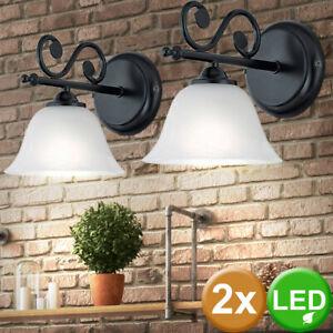 6W LED Wand Lampe Leuchte Landhausstil Licht Beleuchtung Glas gold Wohnzimmer