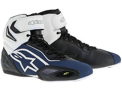Alpinestars Faster 2 Vented black blue white yellow airy Motorcycle shoes Mesh