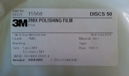 3M POLISHING FILM DISCS 298X 1 MIC 3 MIL 5XNH ALUMINUM OXIDE 50 DISCS