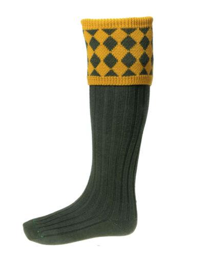 CHESSBOARD  OLIVE WOOL SOCKS NEW CUSHION FOOT SIZES S// MED//L// XLSHOOTING WALK