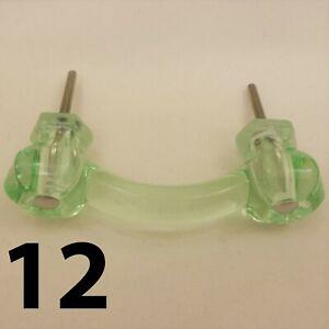 12-COKE-BOTTLE-GREEN-Glass-Cabinet-Handles-Drawer-Pulls-Vintage-Depression-Style