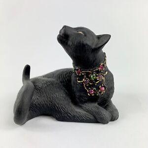 Lenox-Jeweled-Black-Gold-Cat-Sunshine-Daydreams-Lazy-Kitty-Cat-Figurine-Vintage