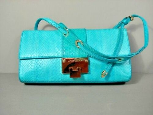 Jimmy Choo Rebel Turquoise Snakeskin Handbag Shoulder Bag Purse Clutch New $1739 by Jimmy Choo