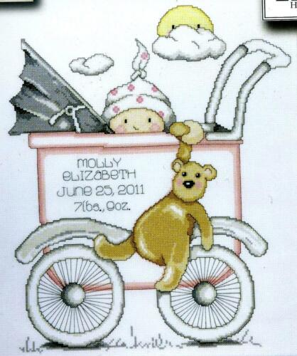 Tobin Baby Design Works Cross Stitch Kit Girl Baby Buggy Sampler