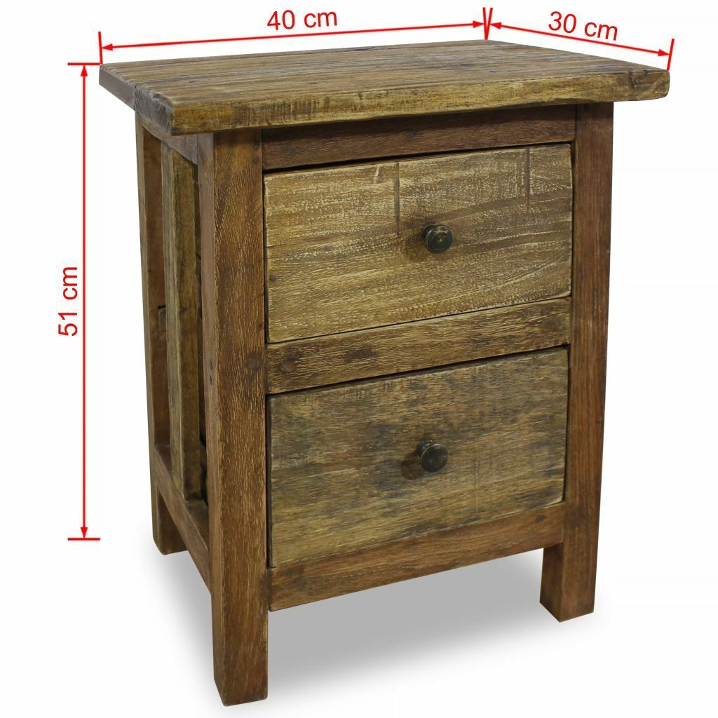 Vidaxl Solid Reclaimed Wood Nightstand W 2 Drawers Bedside Table Cabinet