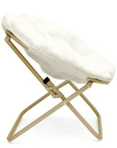 White Velvet Comfortable Saucer Chair Excellent Condition