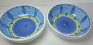 VTG-Set-of-2-Italian-Hand-Painted-Bowls-Made-In-Italy-Caleca