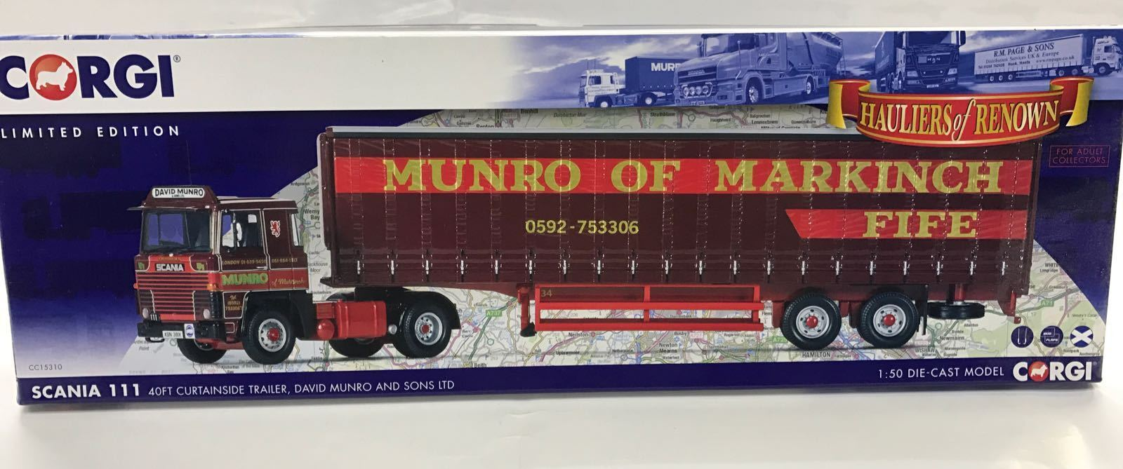 Corgi CC15310, Scania 111, 40ft Curtainside Trailer, David Munro & Sons Ltd