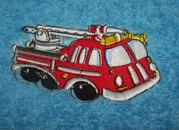 """personalized Embroidered Fire Engine Swimming/bath Towel"" 100% Cotton"