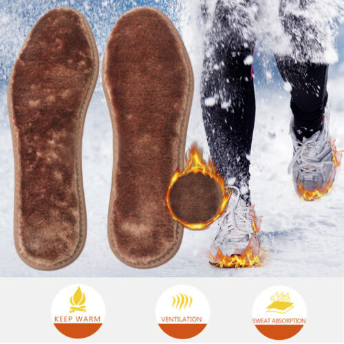 Warm Winter Thermal Insoles Soft Cashmere Wool Shoes Boots Inserts Pads Brown UK