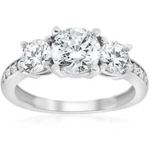 1 1 2ct 3 Stone Diamond Engagement Ring White Gold Round Cut