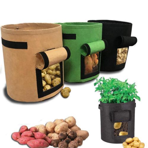 Potato Grow Planter PE Container Bag Pouch Root Plant Growing Pot Side Window !
