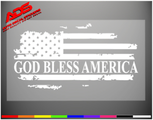 Details About God Bless America Car Sticker Window Decal Marines Veteran Army Flag Usa 195