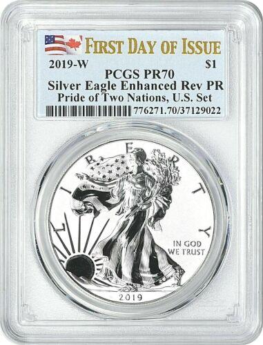 2019-W PRIDE OF TWO NATIONS SILVER EAGLE-PCGS PR70-FDOI-ENHANCED//REVERSE PROOF