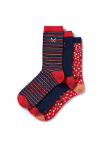 New Crew Clothing Womens 3 Pack Triangle Socks in Red Size O/S